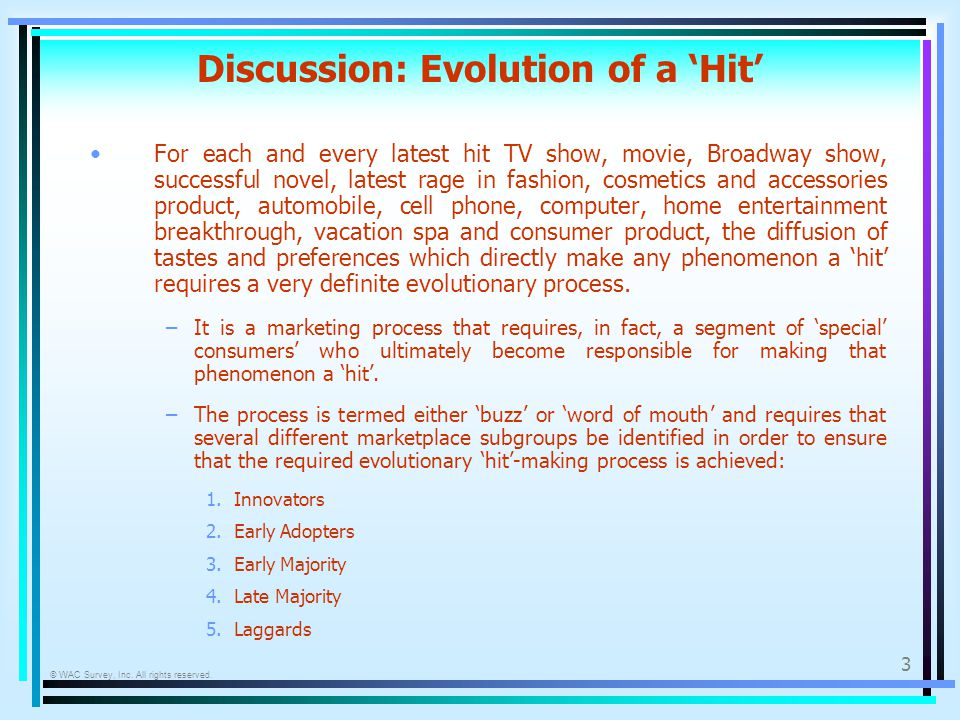 © WAC Survey, Inc. All rights reserved. 3 Discussion: Evolution of a Hit For each and every latest hit TV show, movie, Broadway show, successful novel