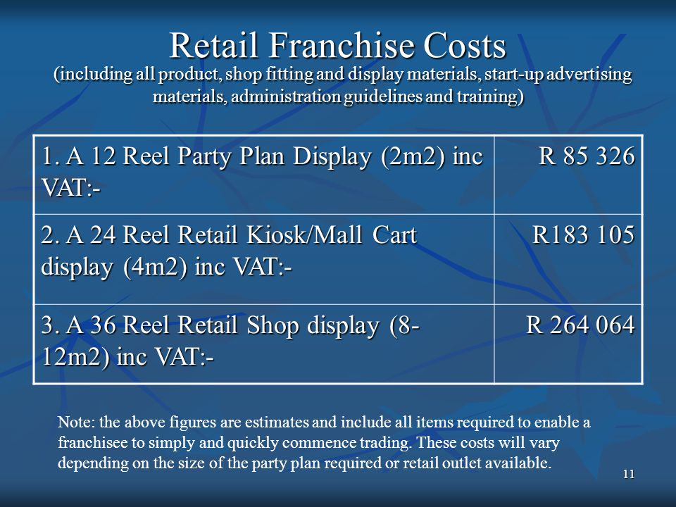 11 Retail Franchise Costs (including all product, shop fitting and display materials, start-up advertising materials, administration guidelines and training) 1.
