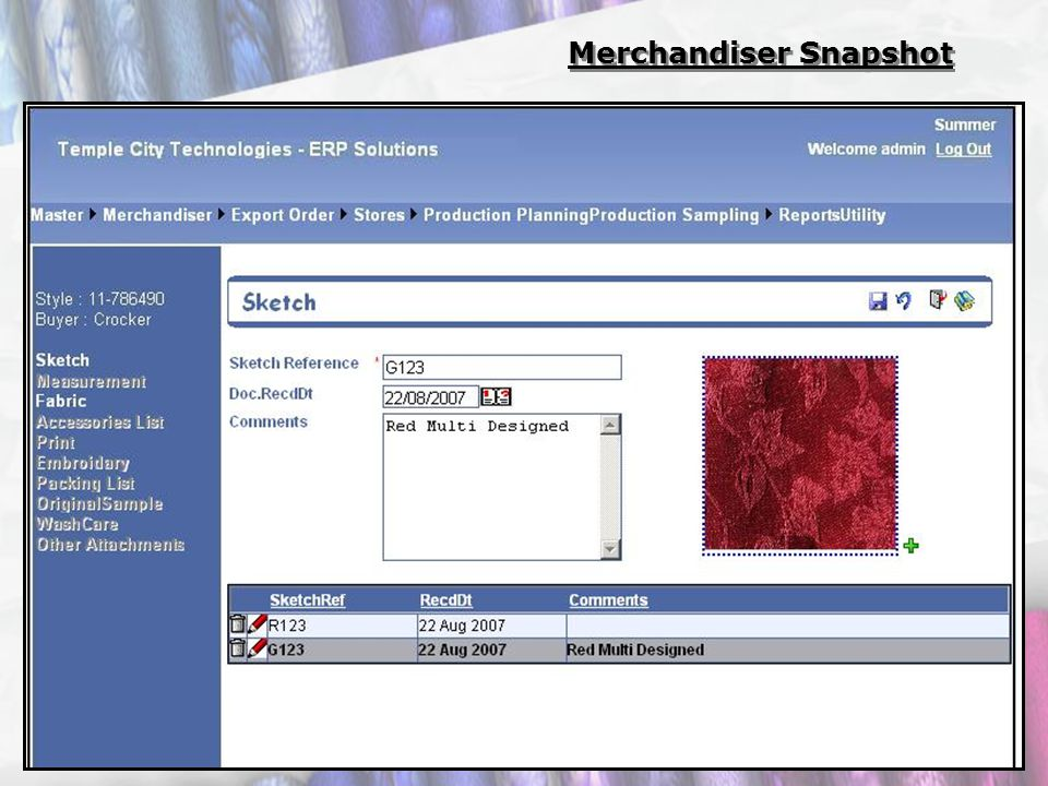 Merchandiser Snapshot