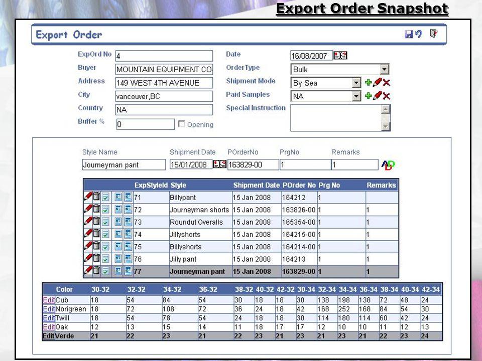 Export Order Snapshot