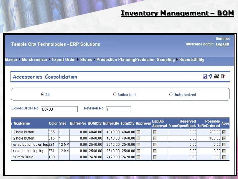 Inventory Management – BOM