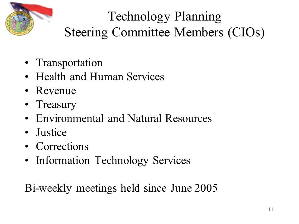 11 Technology Planning Steering Committee Members (CIOs) Transportation Health and Human Services Revenue Treasury Environmental and Natural Resources Justice Corrections Information Technology Services Bi-weekly meetings held since June 2005