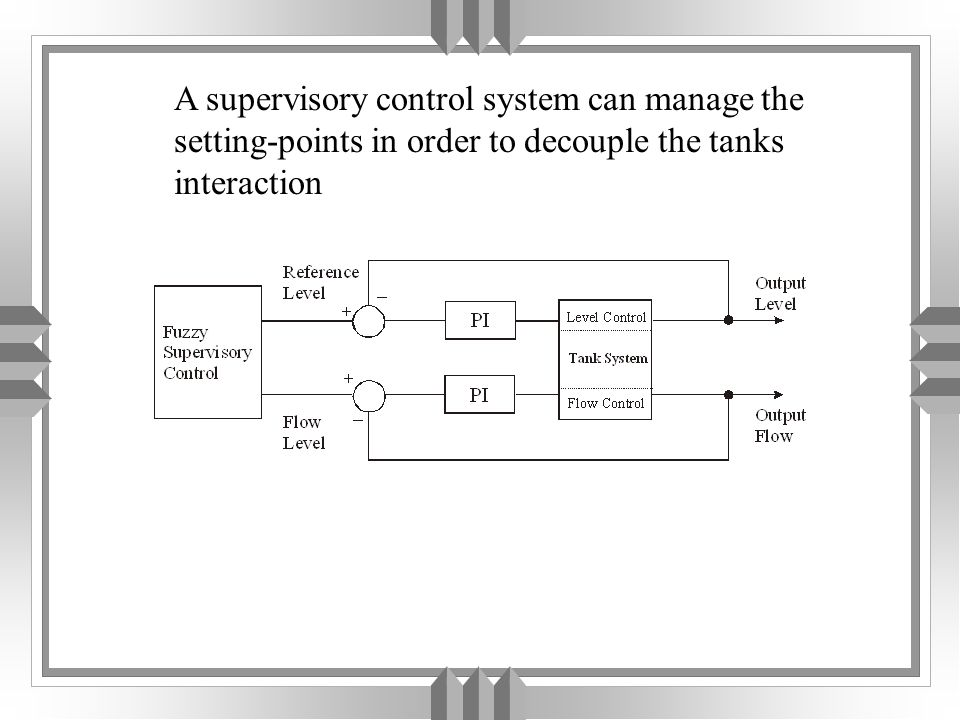 A supervisory control system can manage the setting-points in order to decouple the tanks interaction