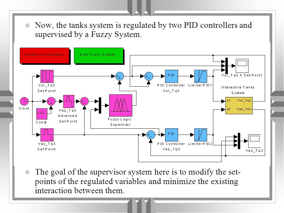u Now, the tanks system is regulated by two PID controllers and supervised by a Fuzzy System.