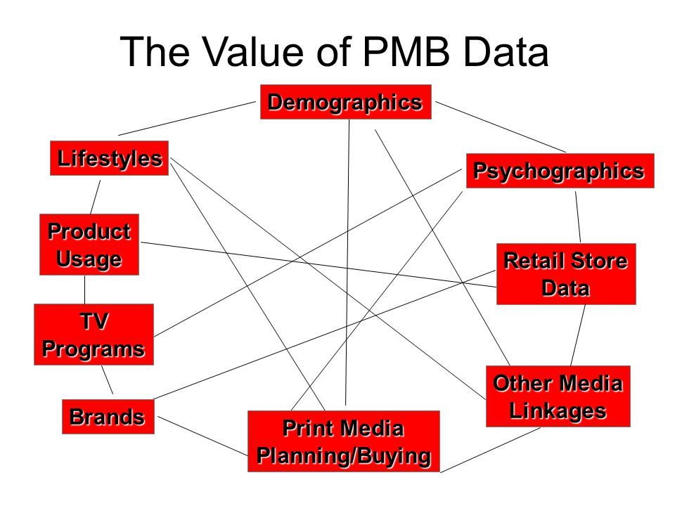 Print Media Planning/Buying ProductUsage TVPrograms Demographics Lifestyles Psychographics Retail Store Data Other Media Linkages The Value of PMB Data Brands