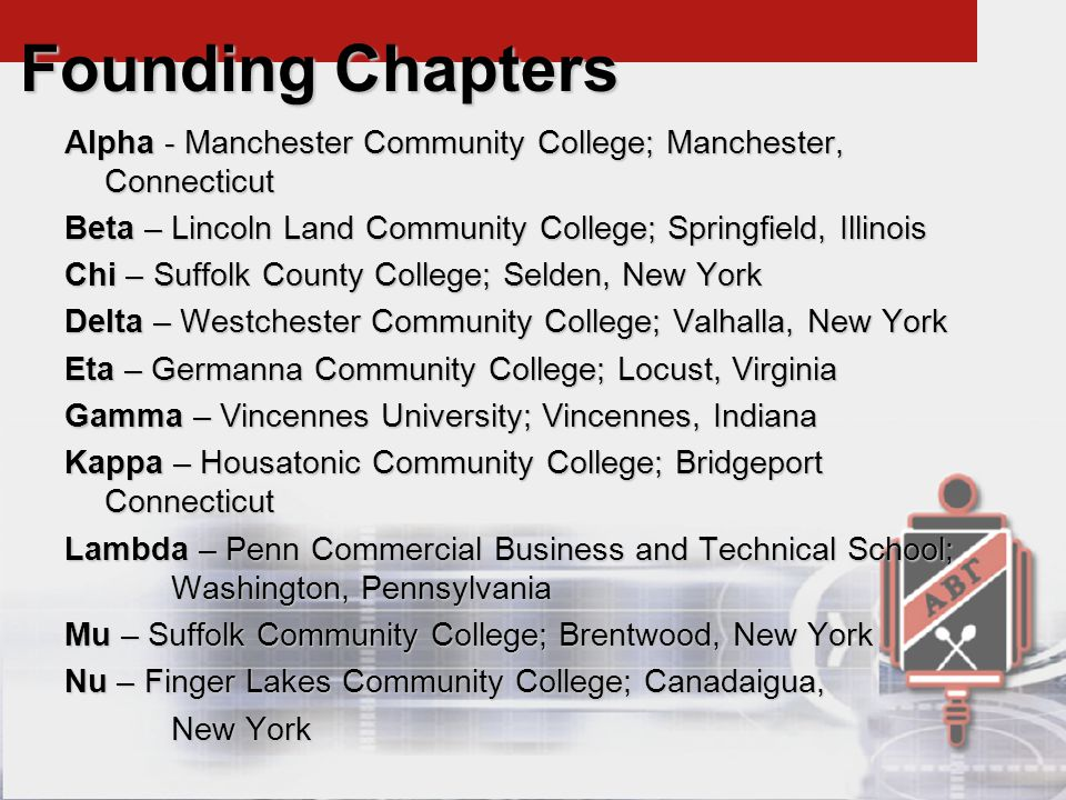 Alpha - Manchester Community College; Manchester, Connecticut Beta – Lincoln Land Community College; Springfield, Illinois Chi – Suffolk County College; Selden, New York Delta – Westchester Community College; Valhalla, New York Eta – Germanna Community College; Locust, Virginia Gamma – Vincennes University; Vincennes, Indiana Kappa – Housatonic Community College; Bridgeport Connecticut Lambda – Penn Commercial Business and Technical School; Washington, Pennsylvania Mu – Suffolk Community College; Brentwood, New York Nu – Finger Lakes Community College; Canadaigua, New York Founding Chapters