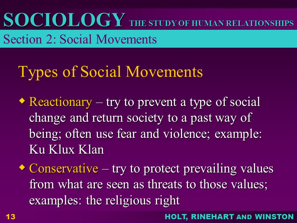 THE STUDY OF HUMAN RELATIONSHIPS SOCIOLOGY HOLT, RINEHART AND WINSTON 13 Types of Social Movements Reactionary – try to prevent a type of social chang