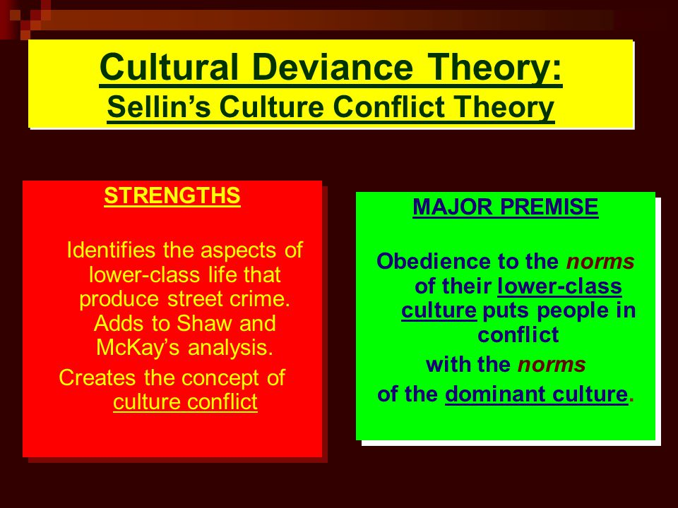 Cultural Deviance Theory: Sellins Culture Conflict Theory STRENGTHS Identifies the aspects of lower-class life that produce street crime. Adds to Shaw