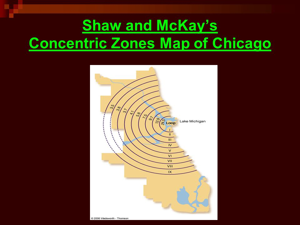 Shaw and McKays Concentric Zones Map of Chicago