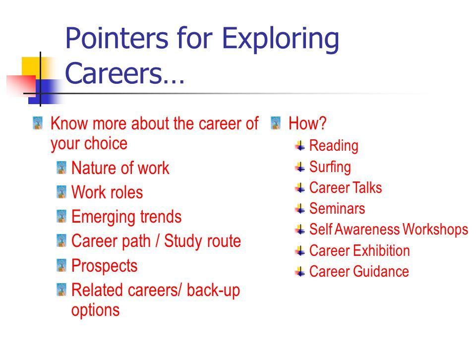 Pointers for Exploring Careers… Know more about the career of your choice Nature of work Work roles Emerging trends Career path / Study route Prospects Related careers/ back-up options How.