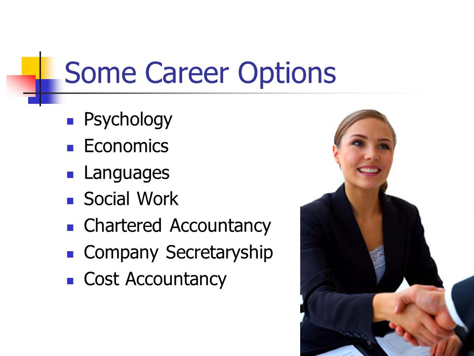 Psychology Economics Languages Social Work Chartered Accountancy Company Secretaryship Cost Accountancy Some Career Options