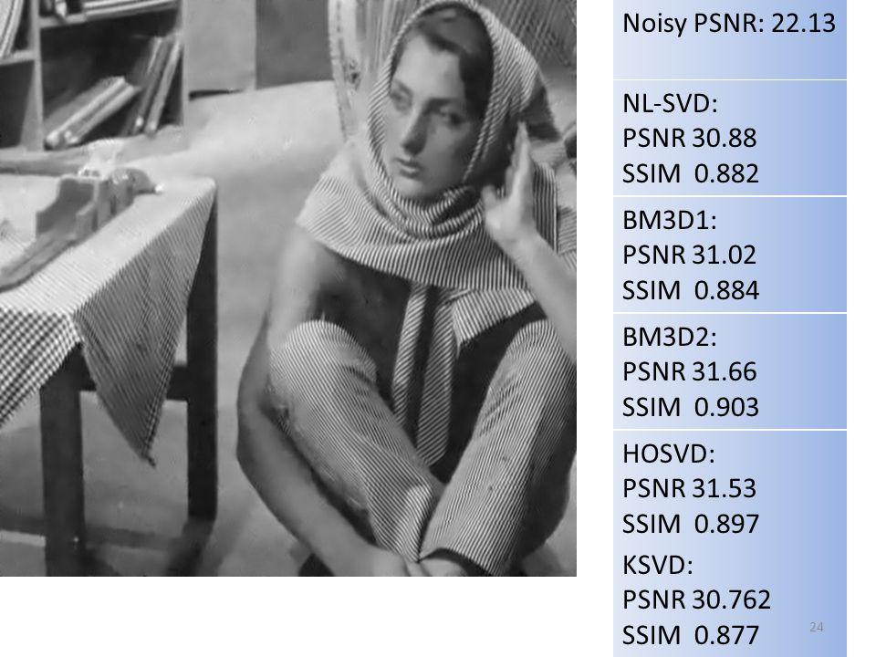 NL-SVD: PSNR 30.88 SSIM 0.882 Noisy PSNR: 22.13 BM3D1: PSNR 31.02 SSIM 0.884 HOSVD: PSNR 31.53 SSIM 0.897 BM3D2: PSNR 31.66 SSIM 0.903 NLMeans: PSNR 29.42 SSIM 0.821 KSVD: PSNR 30.762 SSIM 0.877 24