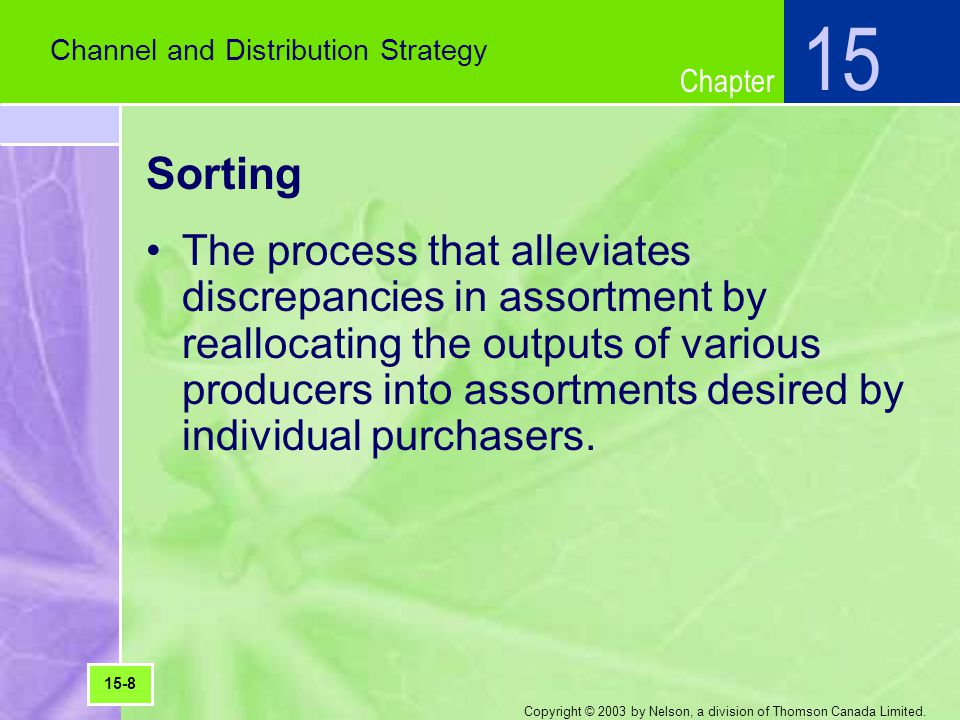 Chapter Copyright © 2003 by Nelson, a division of Thomson Canada Limited. Sorting The process that alleviates discrepancies in assortment by reallocat