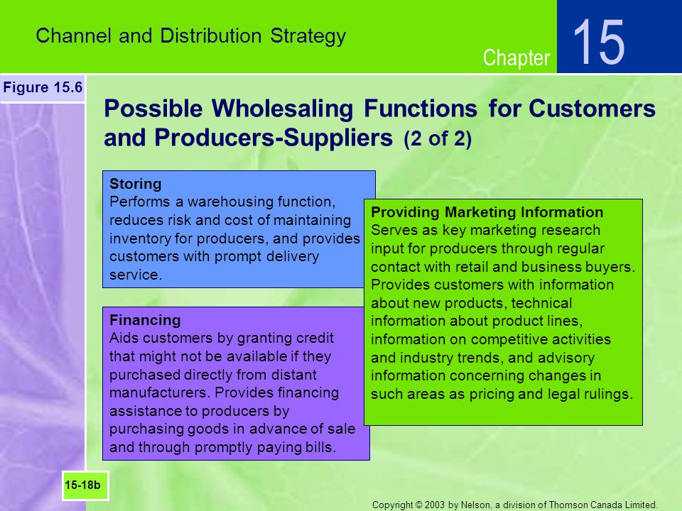 Chapter Copyright © 2003 by Nelson, a division of Thomson Canada Limited. Possible Wholesaling Functions for Customers and Producers-Suppliers (2 of 2