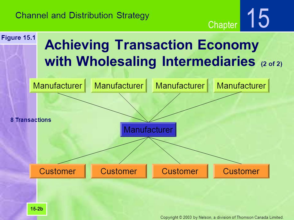 Chapter Copyright © 2003 by Nelson, a division of Thomson Canada Limited. Channel and Distribution Strategy 15 Figure 15.1 Achieving Transaction Econo