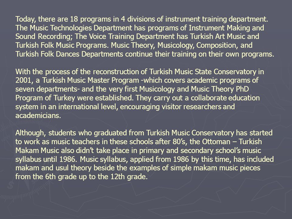 Today, there are 18 programs in 4 divisions of instrument training department.
