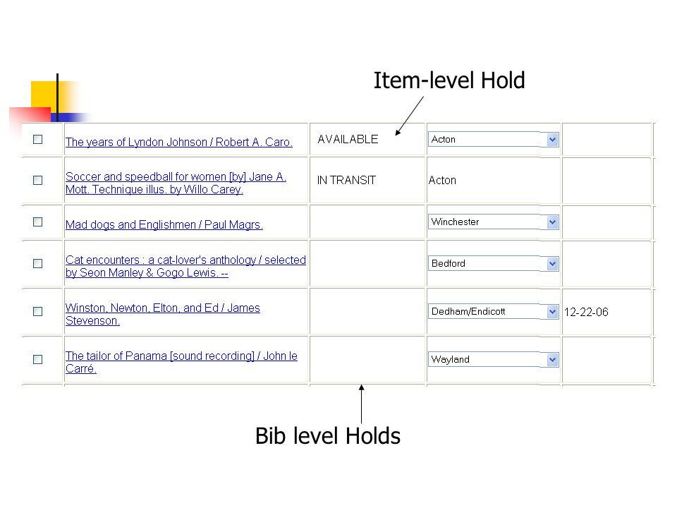 Item-level Hold Bib level Holds