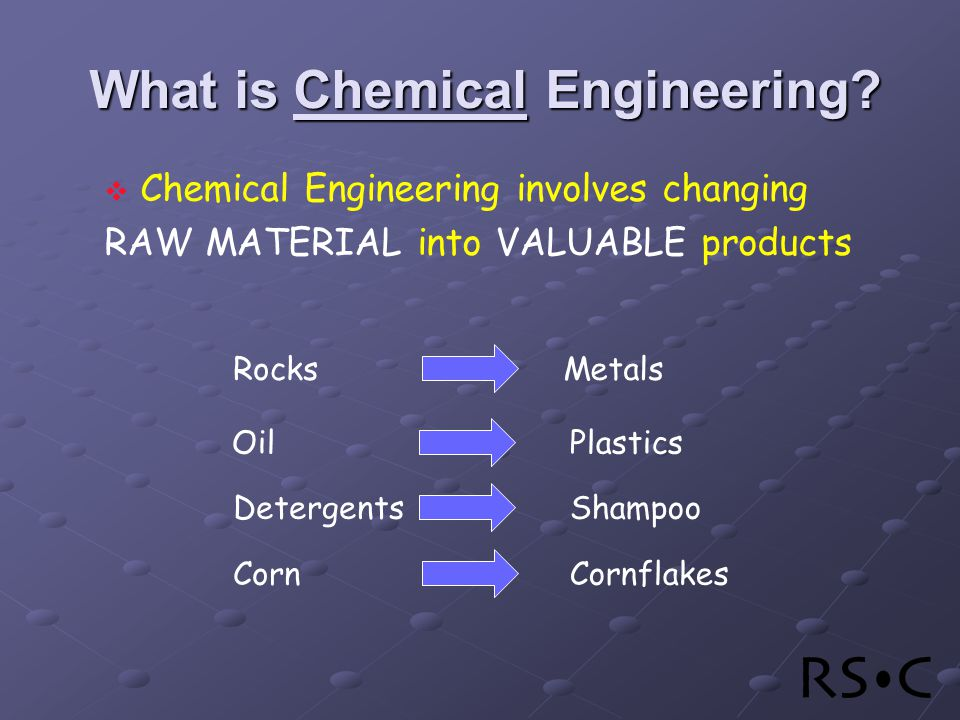 Chemical Engineering involves changing RAW MATERIAL into VALUABLE products What is Chemical Engineering.