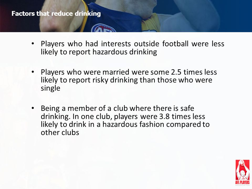 Factors that reduce drinking Players who had interests outside football were less likely to report hazardous drinking Players who were married were some 2.5 times less likely to report risky drinking than those who were single Being a member of a club where there is safe drinking.