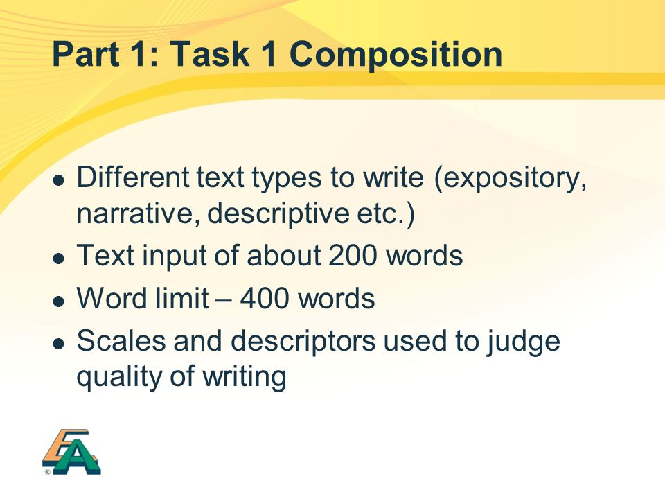 Part 1: Task 1 Composition Different text types to write (expository, narrative, descriptive etc.) Text input of about 200 words Word limit – 400 words Scales and descriptors used to judge quality of writing