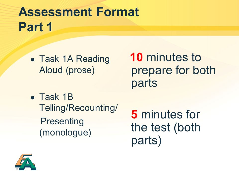 Assessment Format Part 1 Task 1A Reading Aloud (prose) Task 1B Telling/Recounting/ Presenting (monologue) 10 minutes to prepare for both parts 5 minutes for the test (both parts)