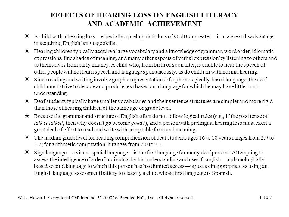 EFFECTS OF HEARING LOSS ON ENGLISH LITERACY AND ACADEMIC ACHIEVEMENT WA child with a hearing lossespecially a prelinguistic loss of 90 dB or greateris