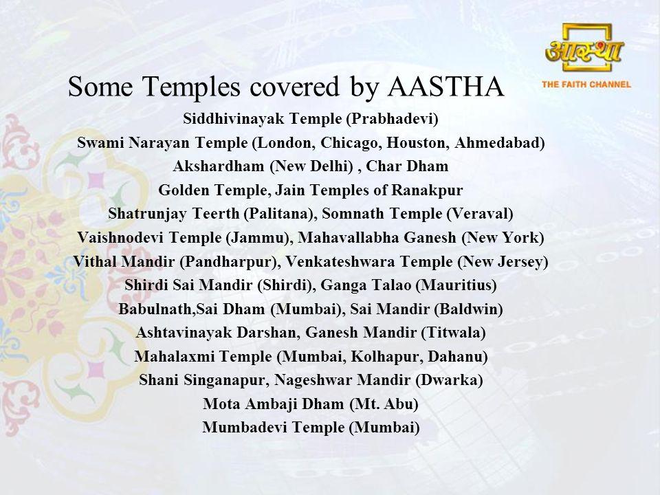 Some Temples covered by AASTHA Siddhivinayak Temple (Prabhadevi) Swami Narayan Temple (London, Chicago, Houston, Ahmedabad) Akshardham (New Delhi), Char Dham Golden Temple, Jain Temples of Ranakpur Shatrunjay Teerth (Palitana), Somnath Temple (Veraval) Vaishnodevi Temple (Jammu), Mahavallabha Ganesh (New York) Vithal Mandir (Pandharpur), Venkateshwara Temple (New Jersey) Shirdi Sai Mandir (Shirdi), Ganga Talao (Mauritius) Babulnath,Sai Dham (Mumbai), Sai Mandir (Baldwin) Ashtavinayak Darshan, Ganesh Mandir (Titwala) Mahalaxmi Temple (Mumbai, Kolhapur, Dahanu) Shani Singanapur, Nageshwar Mandir (Dwarka) Mota Ambaji Dham (Mt.