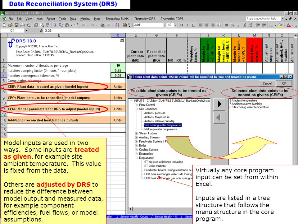 Data Reconciliation System (DRS) Model Outputs Primary use of model outputs is comparison with measured quantities.