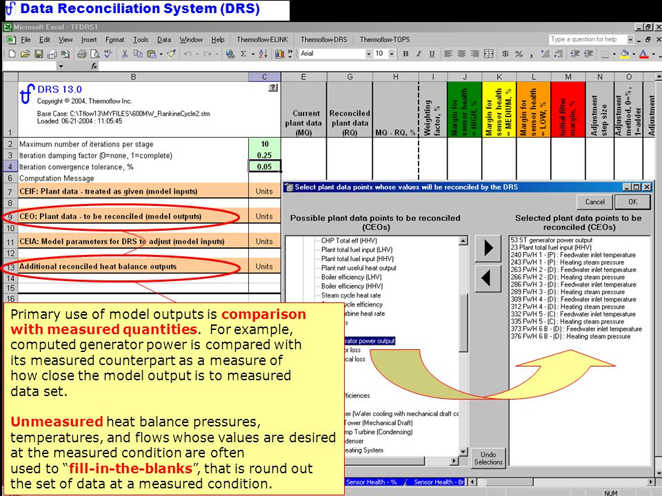 Data Reconciliation System (DRS) Main Worksheet Measured data are entered manually in off -line use, or populated by a bridge program in on-line operation.