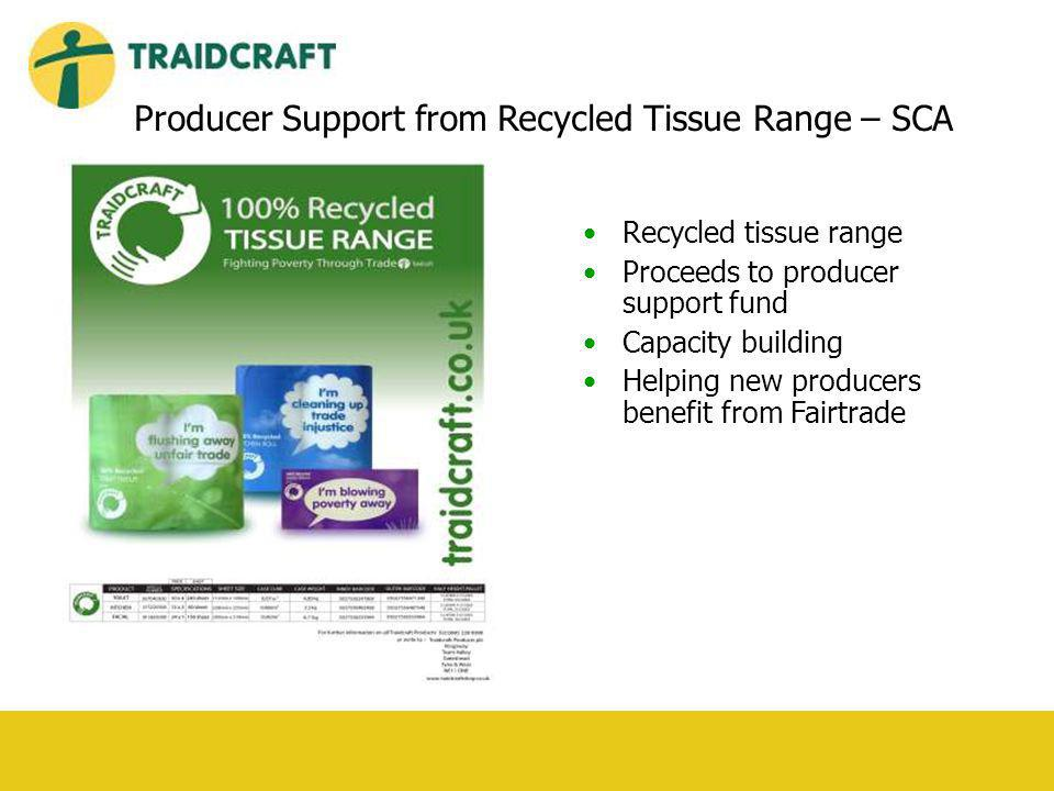 Recycled tissue range Proceeds to producer support fund Capacity building Helping new producers benefit from Fairtrade Producer Support from Recycled Tissue Range – SCA