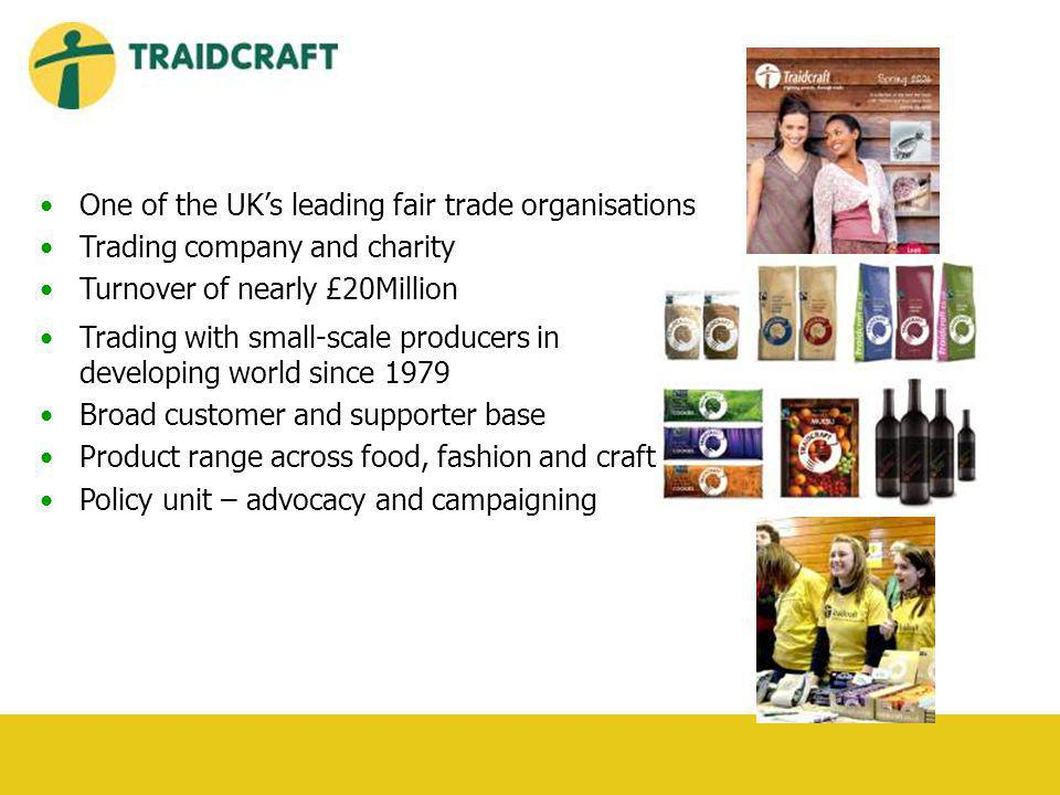 One of the UKs leading fair trade organisations Trading company and charity Turnover of nearly £20Million Trading with small-scale producers in developing world since 1979 Broad customer and supporter base Product range across food, fashion and crafts Policy unit – advocacy and campaigning