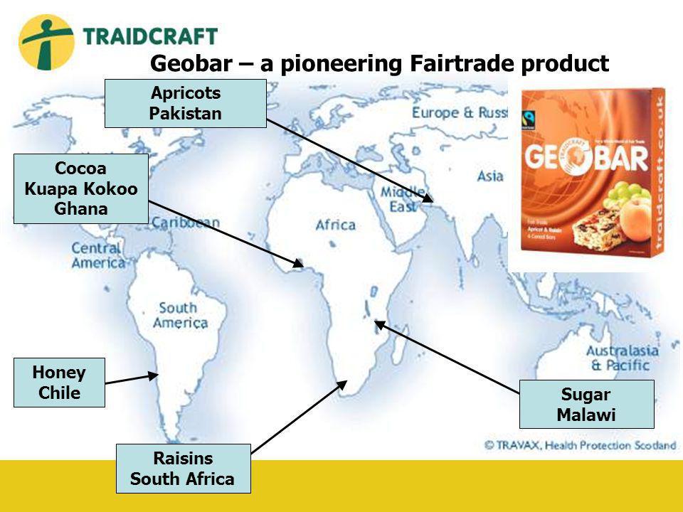 Cocoa Kuapa Kokoo Ghana Raisins South Africa Honey Chile Sugar Malawi Apricots Pakistan Geobar – a pioneering Fairtrade product