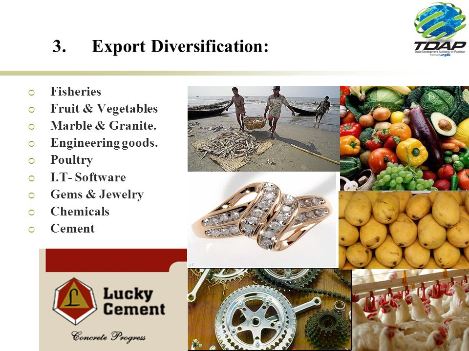 21 3.Export Diversification: Fisheries Fruit & Vegetables Marble & Granite.