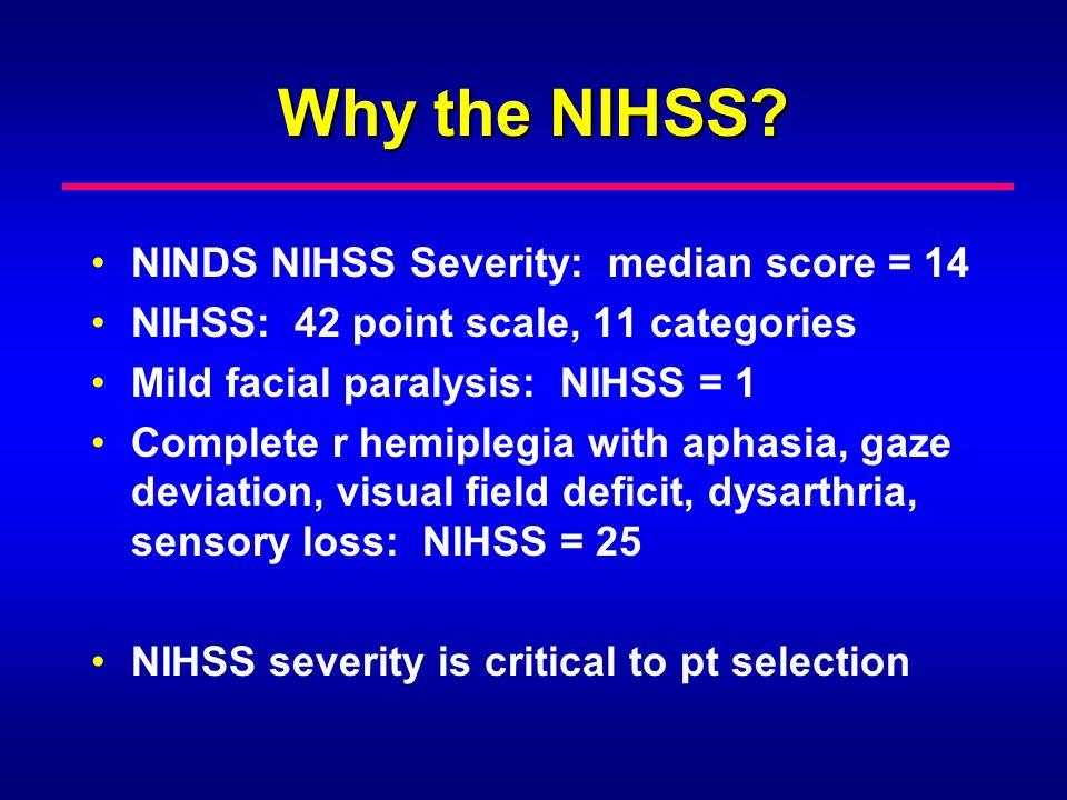 Why the NIHSS? NINDS NIHSS Severity: median score = 14 NIHSS: 42 point scale, 11 categories Mild facial paralysis: NIHSS = 1 Complete r hemiplegia wit