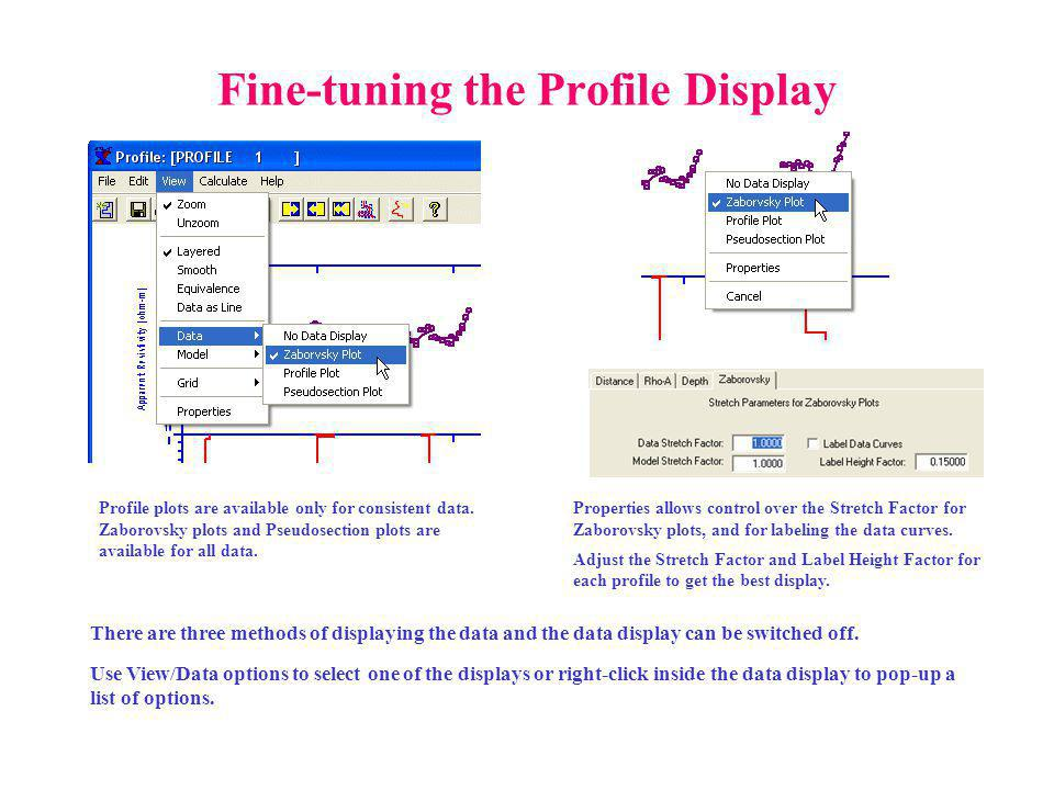 Fine-tuning the Profile Display There are three methods of displaying the data and the data display can be switched off.