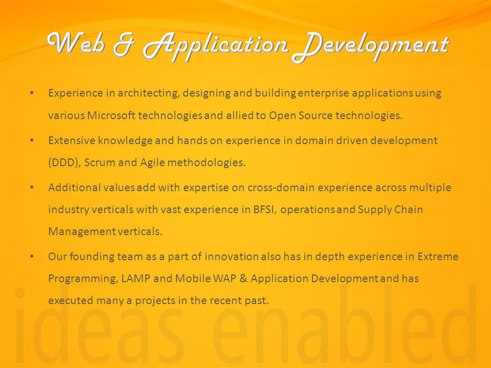 Experience in architecting, designing and building enterprise applications using various Microsoft technologies and allied to Open Source technologies.