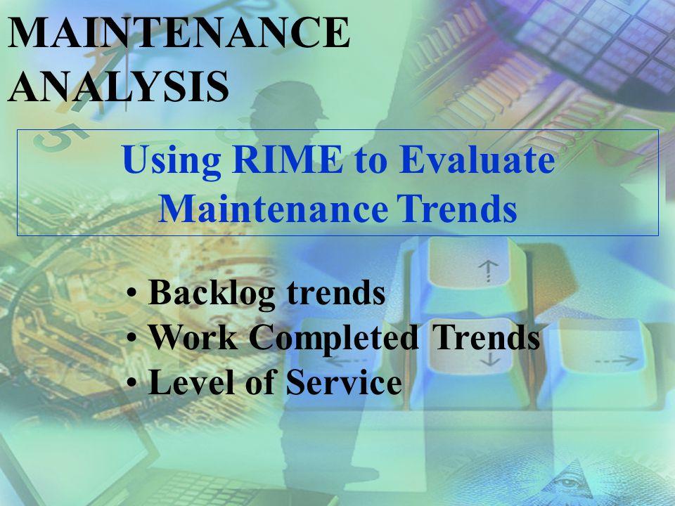 MAINTENANCE ANALYSIS Trend Analysis provides insight into…..