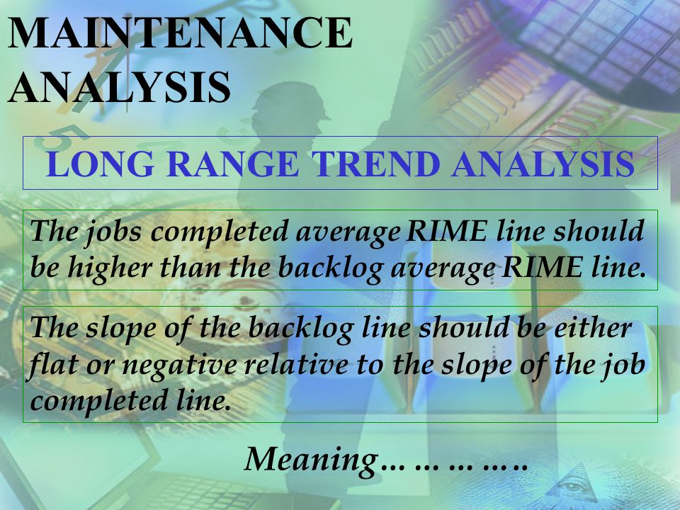 MAINTENANCE ANALYSIS JOBS COMPLETED AVERAGE RIME Level Slope Interpretation and Possible Action LOW UP, FLAT The Current level indicates an improper mix of low priority jobs being worked.