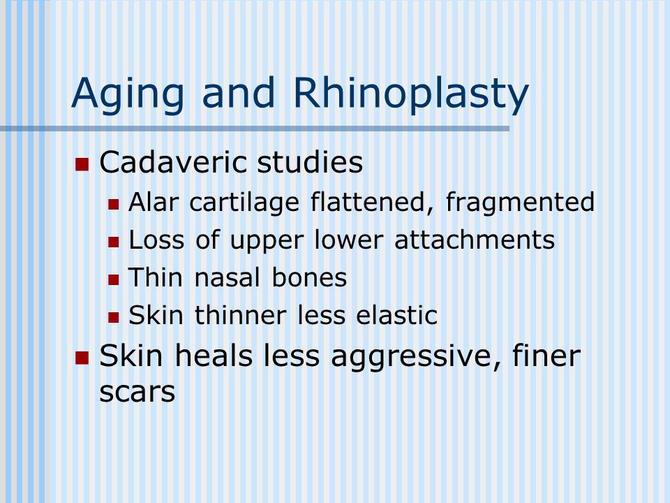 Aging and Rhinoplasty Cadaveric studies Alar cartilage flattened, fragmented Loss of upper lower attachments Thin nasal bones Skin thinner less elastic Skin heals less aggressive, finer scars