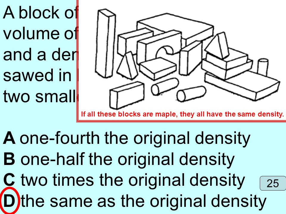 A block of maple wood with a volume of 405 cubic centimeters and a density of 0.67 g/cm3 is sawed in half. The density of the two smaller blocks is no