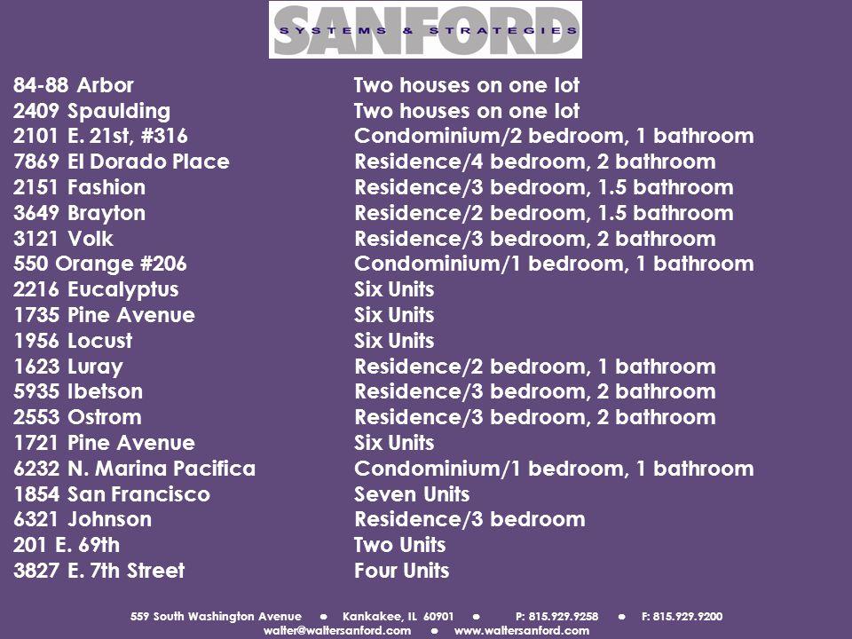 559 South Washington Avenue Kankakee, IL 60901 P: 815.929.9258 F: 815.929.9200 walter@waltersanford.com www.waltersanford.com 84-88 ArborTwo houses on one lot 2409 SpauldingTwo houses on one lot 2101 E.