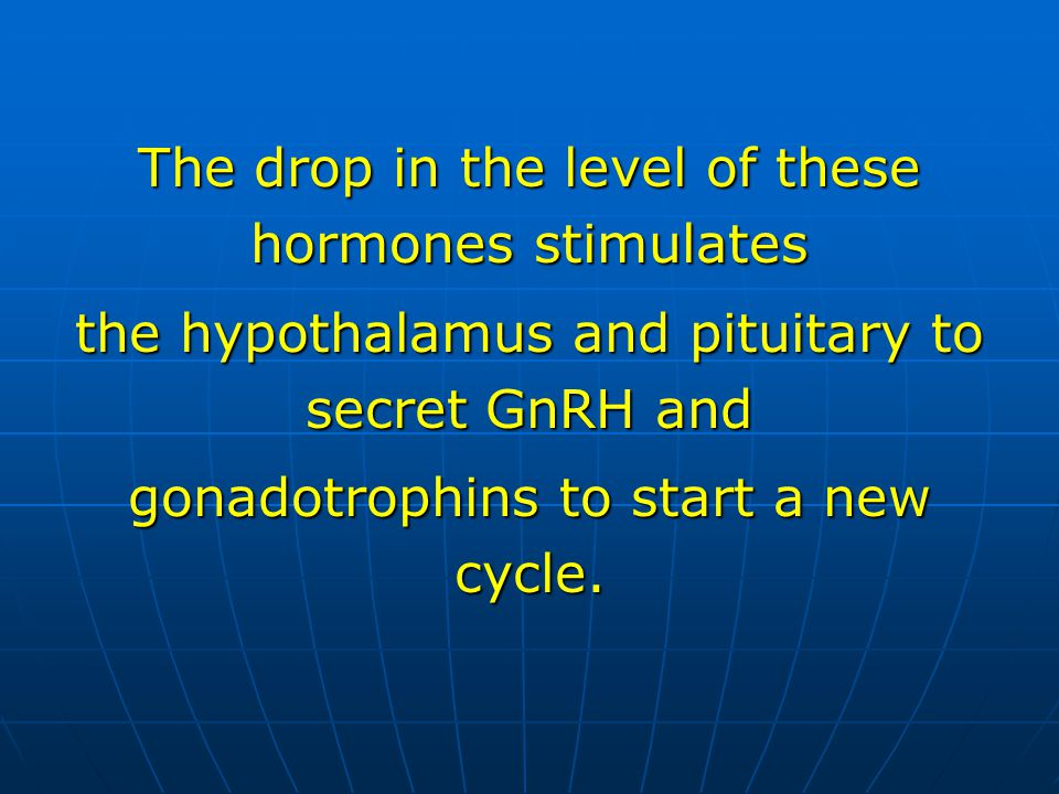 The drop in the level of these hormones stimulates the hypothalamus and pituitary to secret GnRH and gonadotrophins to start a new cycle.