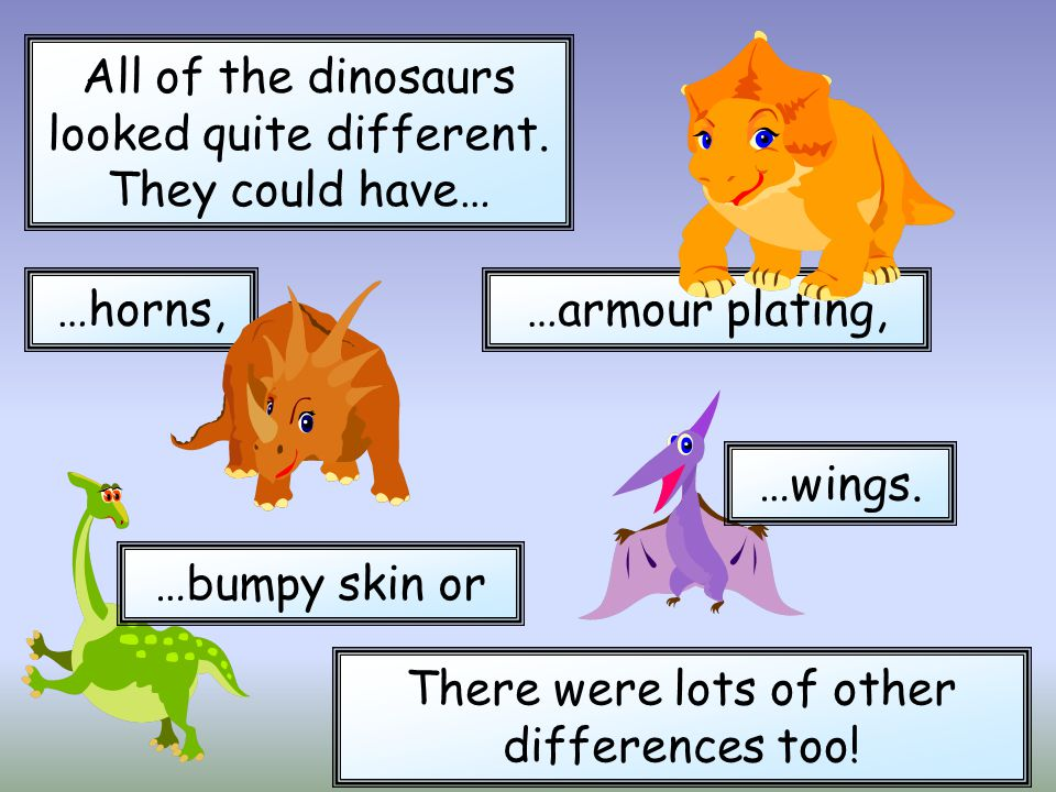 All of the dinosaurs looked quite different. They could have… …armour plating,…horns, …bumpy skin or …wings. There were lots of other differences too!