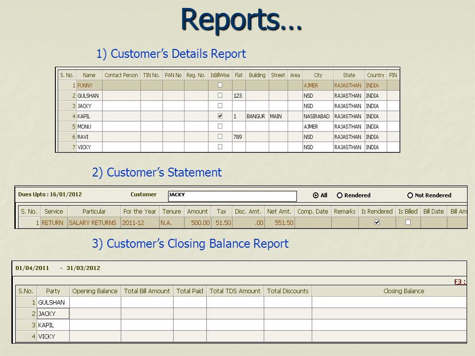 Reports… 1) Customers Details Report 2) Customers Statement 3) Customers Closing Balance Report