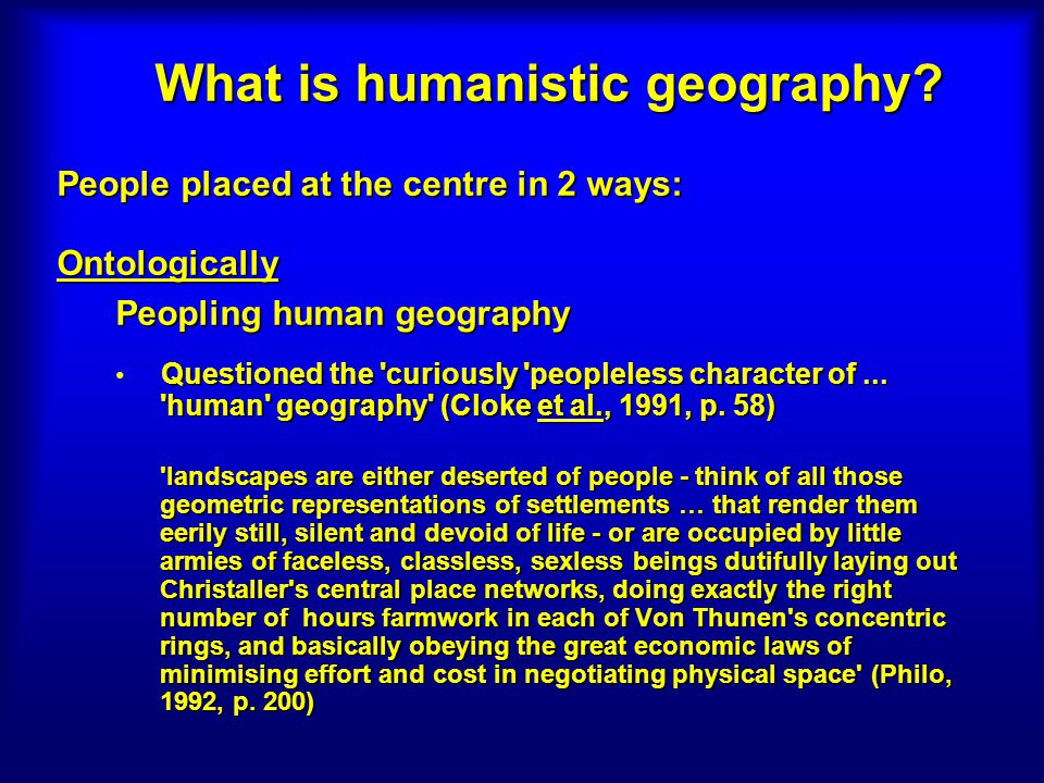 What is humanistic geography.