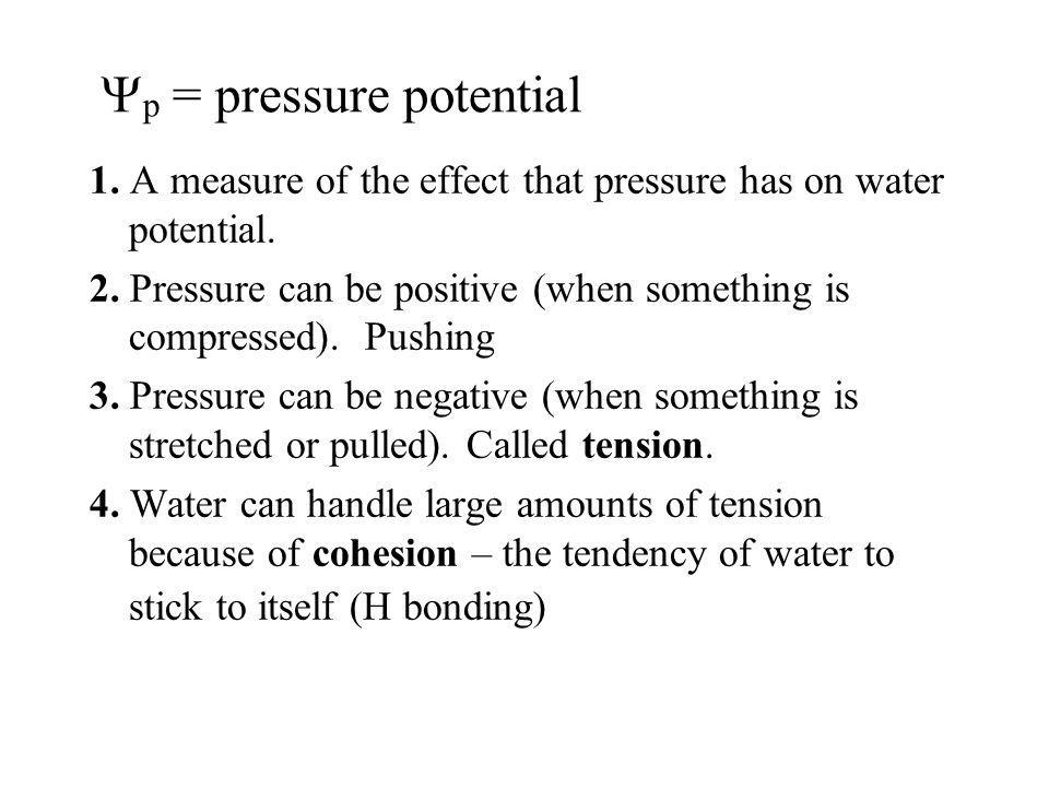 p = pressure potential 1. A measure of the effect that pressure has on water potential. 2. Pressure can be positive (when something is compressed). Pu