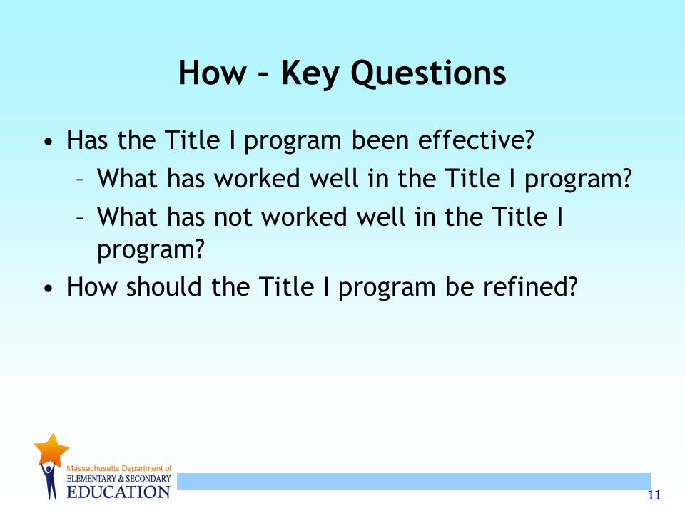 11 How – Key Questions Has the Title I program been effective.