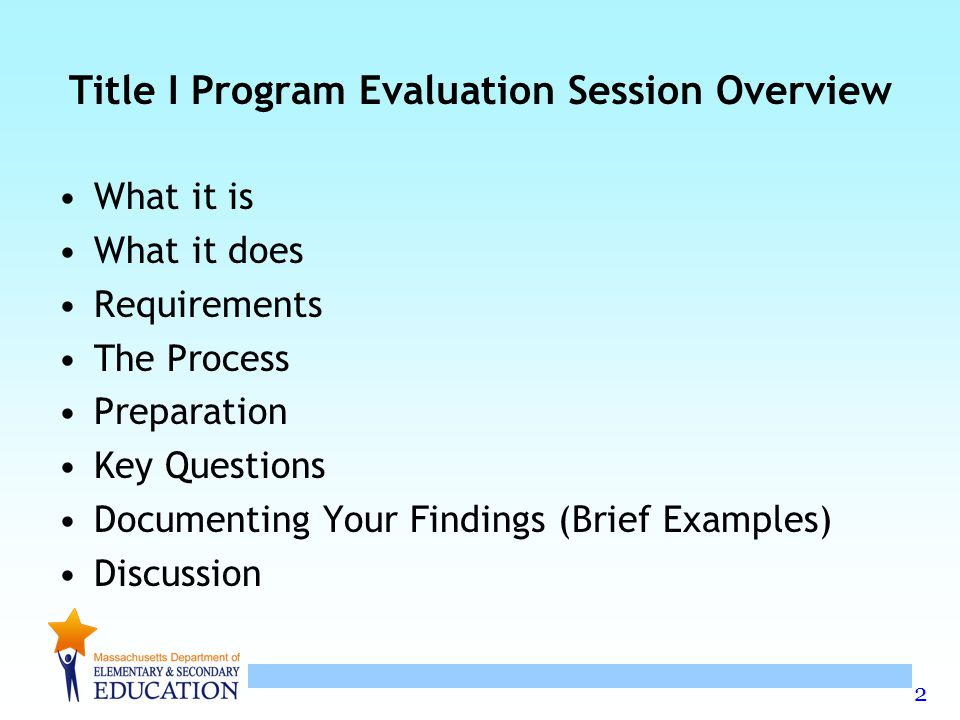 2 Title I Program Evaluation Session Overview What it is What it does Requirements The Process Preparation Key Questions Documenting Your Findings (Brief Examples) Discussion