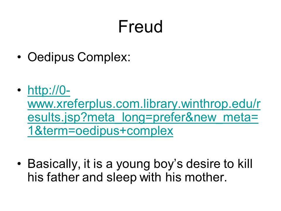 Freud Oedipus Complex: http://0- www.xreferplus.com.library.winthrop.edu/r esults.jsp?meta_long=prefer&new_meta= 1&term=oedipus+complexhttp://0- www.x