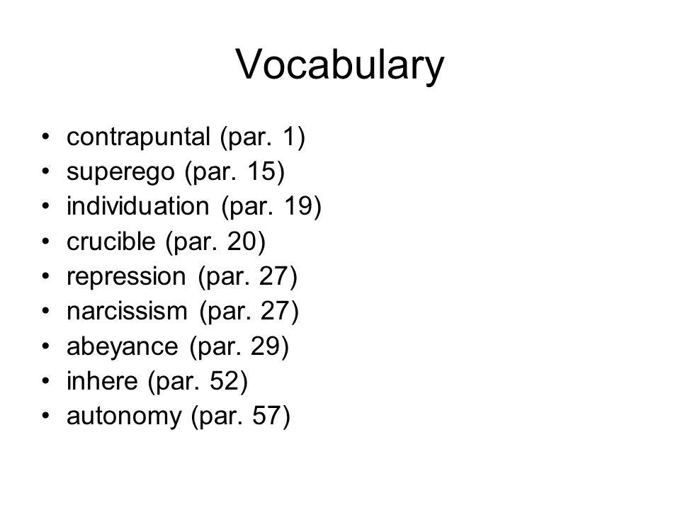 Vocabulary contrapuntal (par. 1) superego (par. 15) individuation (par. 19) crucible (par. 20) repression (par. 27) narcissism (par. 27) abeyance (par